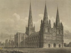 North-west view of the Cathedral church of Lichfield